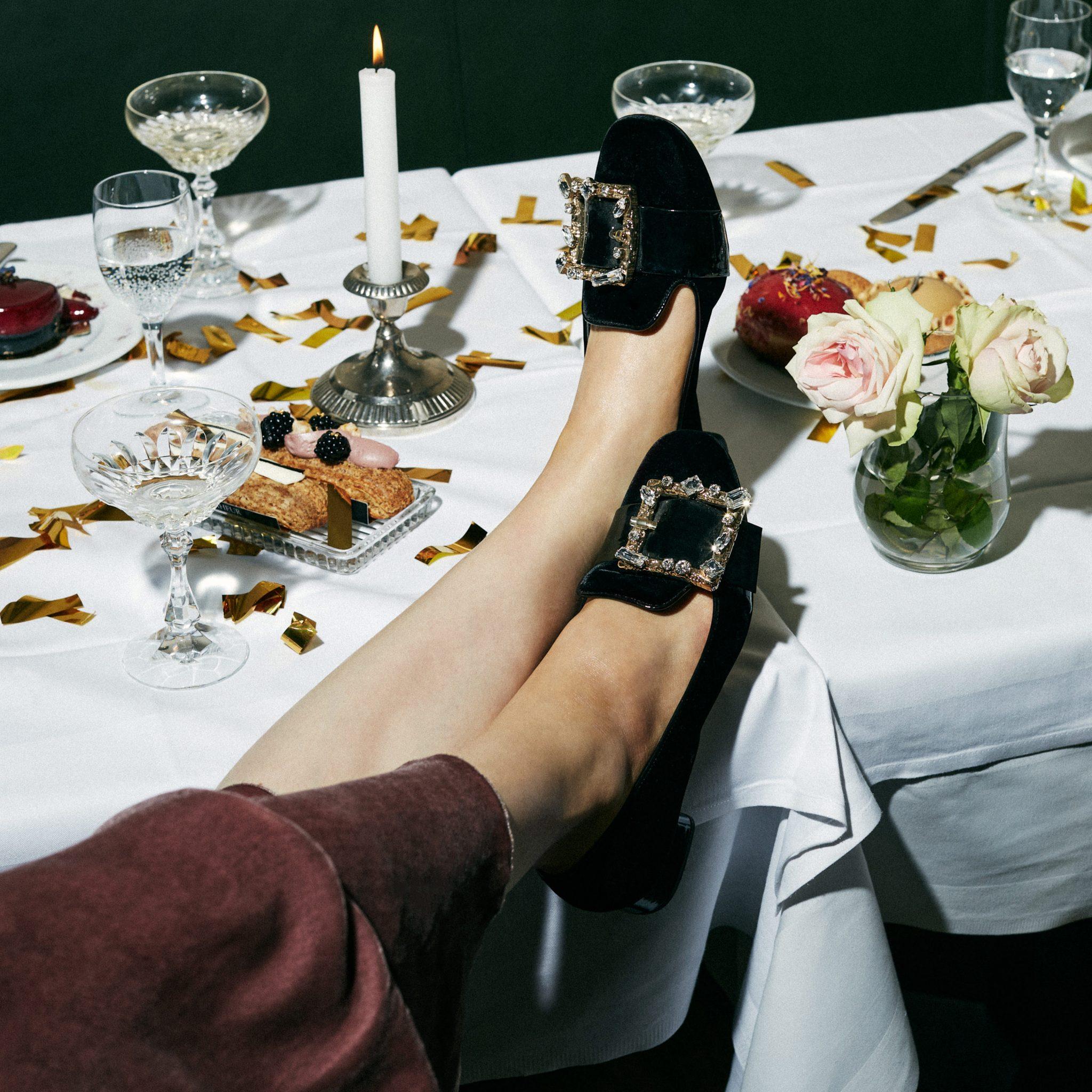 miu miu, shoes, ballet flats, Chrystal shoes, party outfit